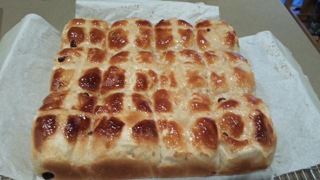 Finished glazed hot cross buns