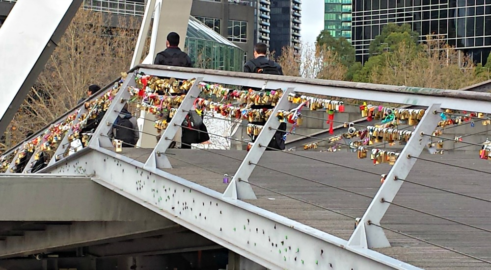 Locks on Yarra footbridge, Southbank, Melbourne