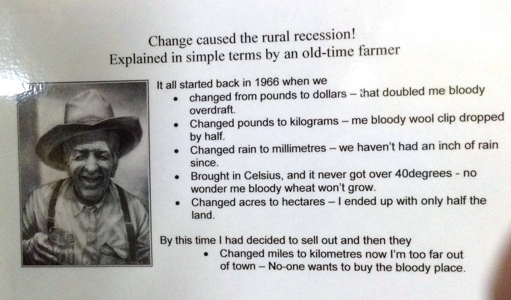 Funny notice about the rural recession at the Windorah Pub