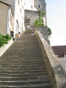 Steps at Rocamadour that pilgrims were meant to climb on their knees