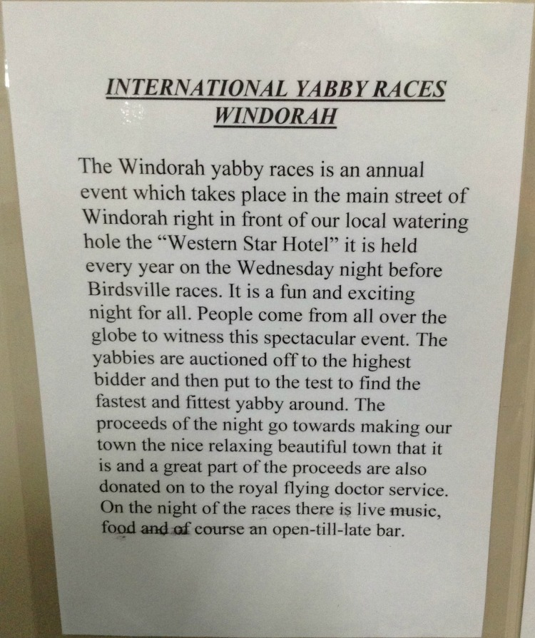 Sign about the annual International Yabbie Races at Windorah