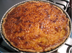 onion tart straight from the oven