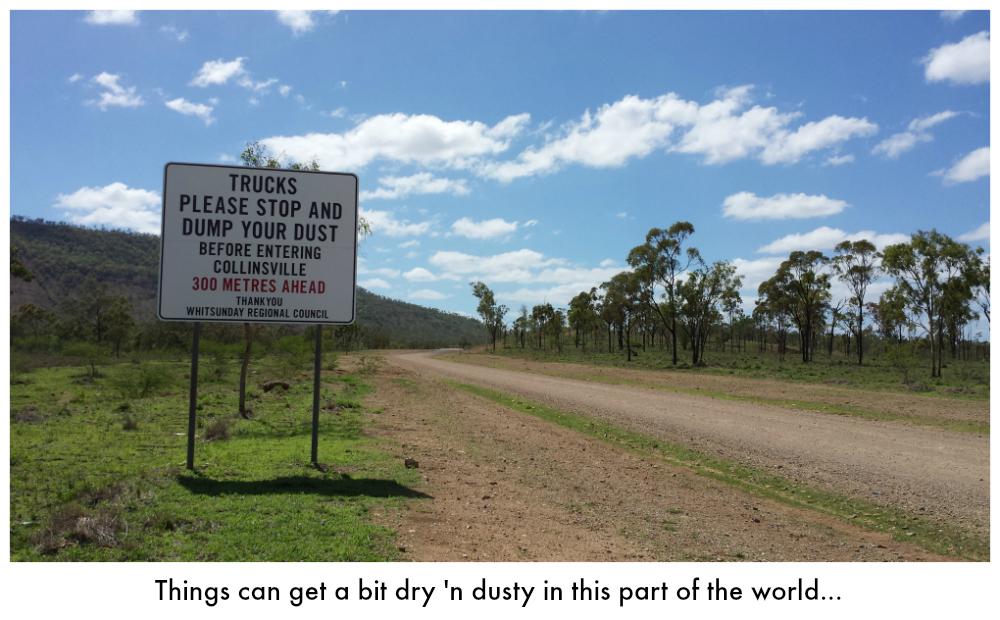 Sign instructing trucks to dump their dust