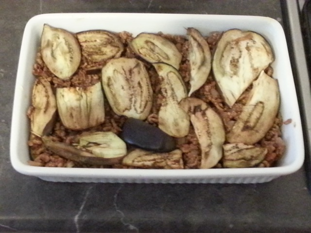 final eggplant layer of the moussaka