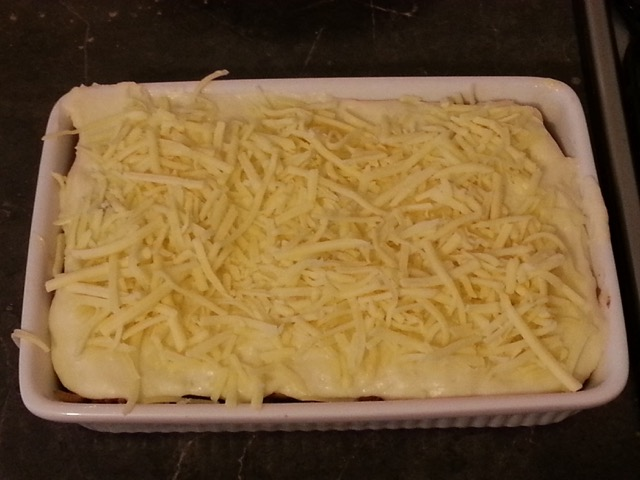 Moussaka ready for the oven