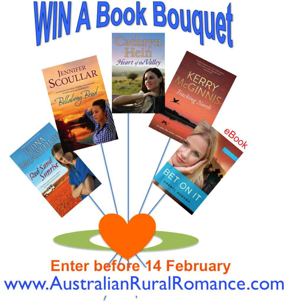 Australian rural romance book bouquet with Heart of the Valley