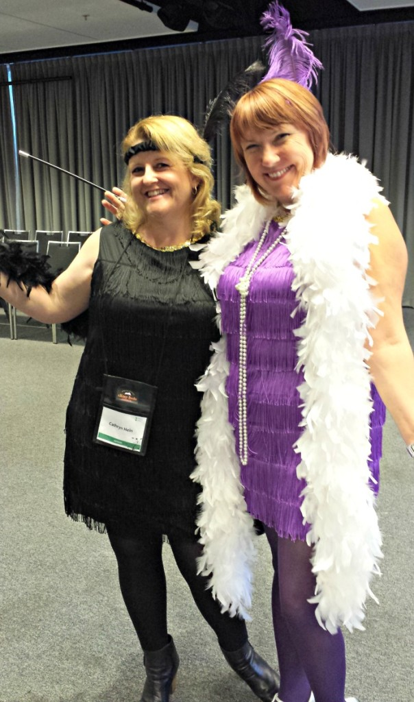 Me with Red Sand Sunrise author and all-round gorgeous person Fiona McArthur showing off our sexy flapper outfits