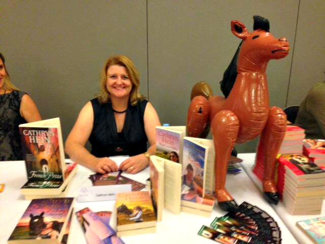 Cathryn Hein and her blow-up horse at the ARRC 2015 booksigning
