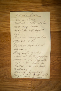 The original hand written recipe for zucchini pickle