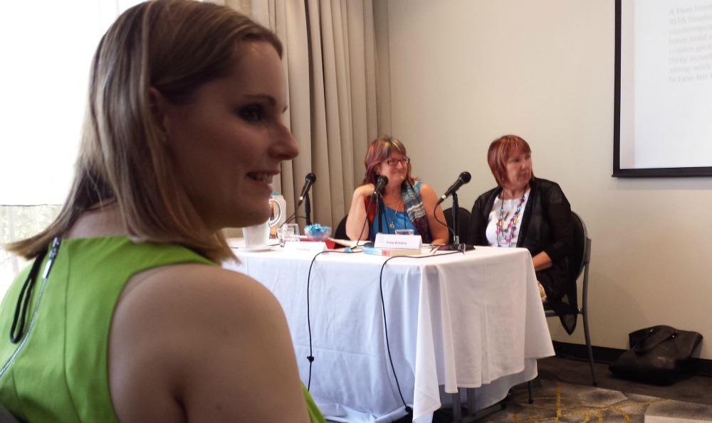 Reader Jeanie Misko  enjoying the Changing Lanes panel at ARRC 2015, featuring Trish Morey and Fiona McArthur (plus Amy Andrews and Fiona Lowe out of shot).