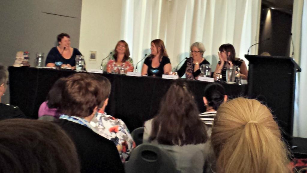 L-R: Kate Cuthbert (moderator), Margareta Osborn,  Cheryl Adnams, Barbara Hannay and Victoria Dahl.
