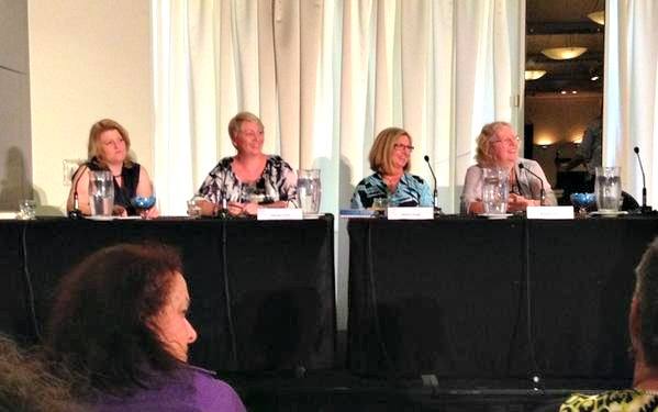 Dangerous Liaisons panel at ARRC 2015. L-R: Cathryn Hein, Shannon Curtis, Helene Young and Bronwyn Parry