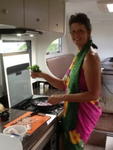Jenn J McLeod cooking in her caravan 'Barcoola'