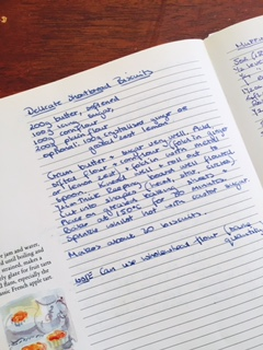 Jennie's hand written recipe for delicate shortbread