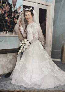 My mum, Patricia Hein in her wedding dress, 1960.