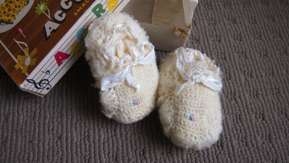 Mum's white booties.