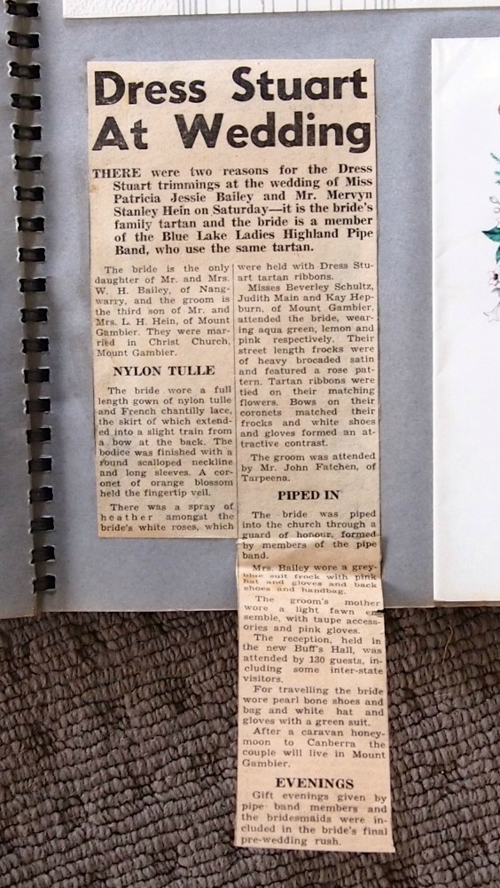 Newspaper clipping reporting Mum's and Dad's wedding.