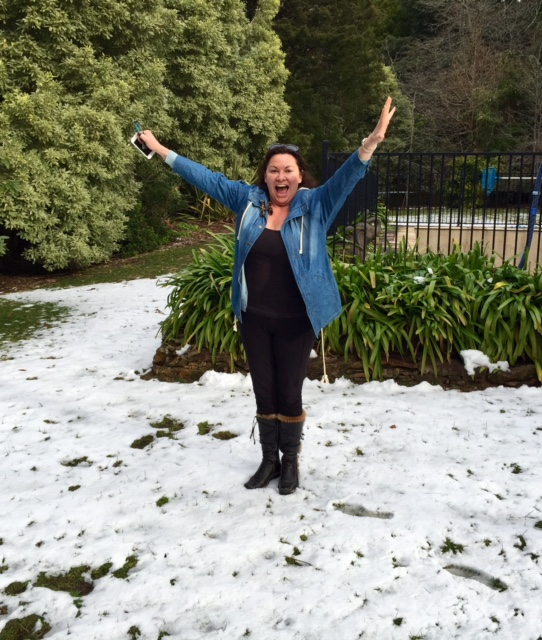 Lisa Heidke in the snow