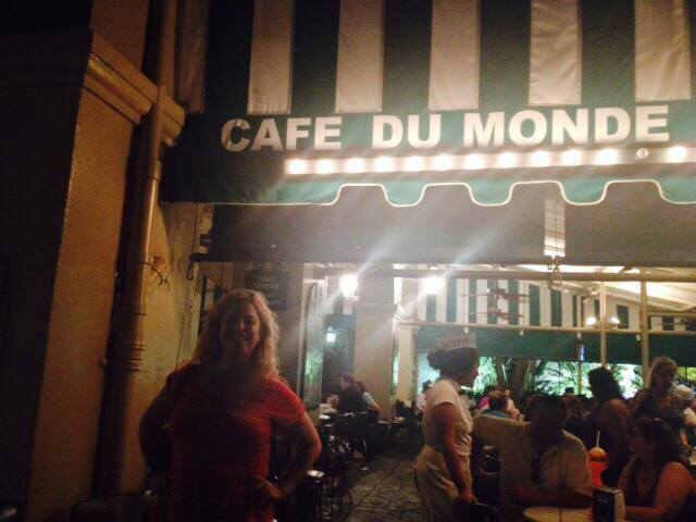 The fabulous Megan Crane (author) about to head into Café du Monde with me and eat beignets.