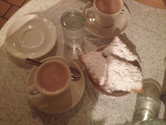 Beignets and hot chocolate in New Orleans