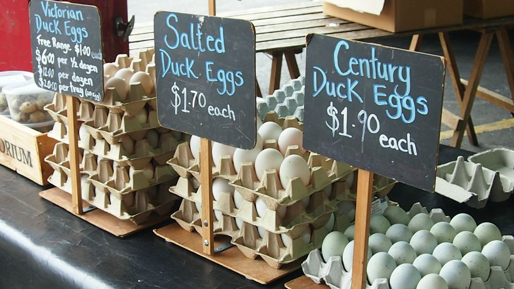 Duck eggs at Queen Victoria Market