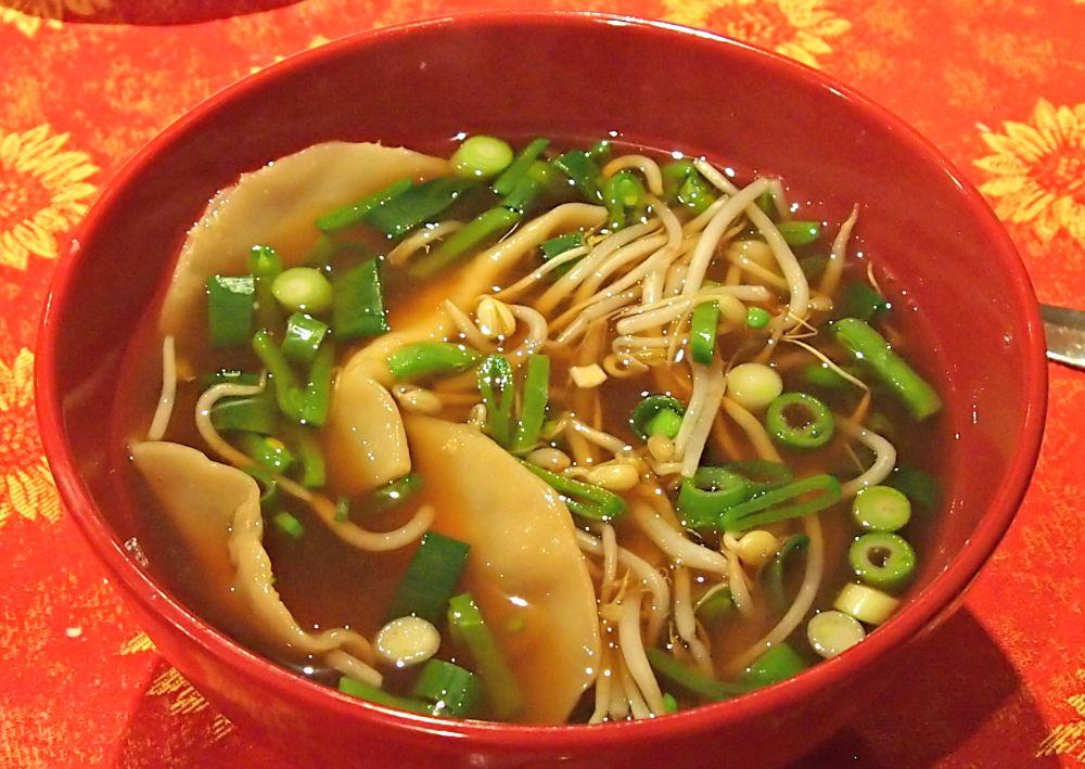 Cathryn's dumpling soup, ready to slurp