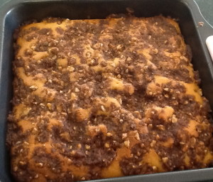 Joan Kilby's Nut Coffee Cake in pan