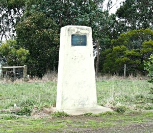 The Edward Henty memorial at the top of Muntham Hill, western Victoria