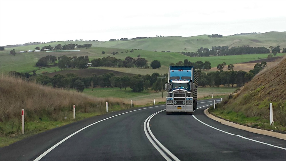 The Glenelg Highway, between Casterton and Coleraine, Victoria, Australia.