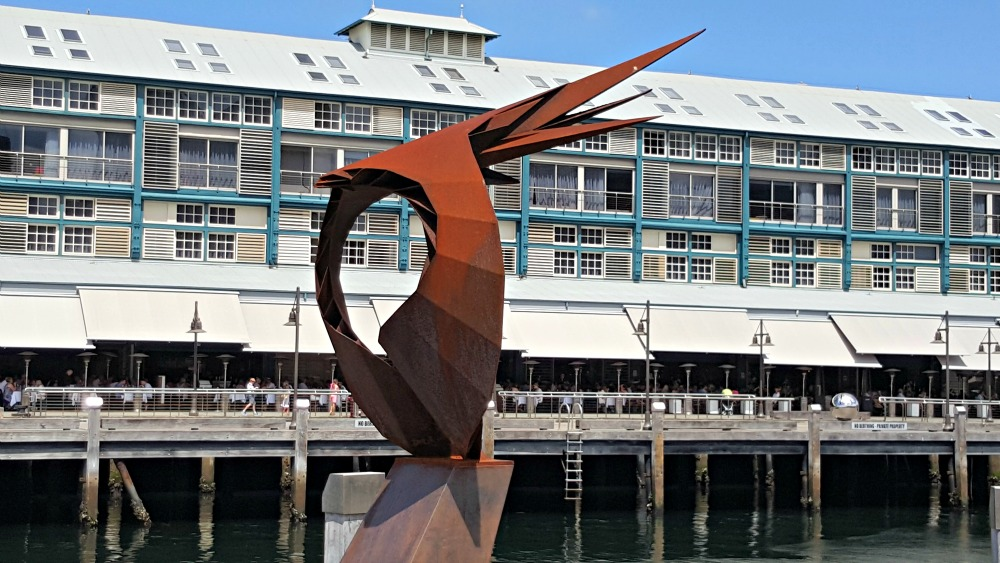 One of the Finger Wharf sculptures - bird of prey