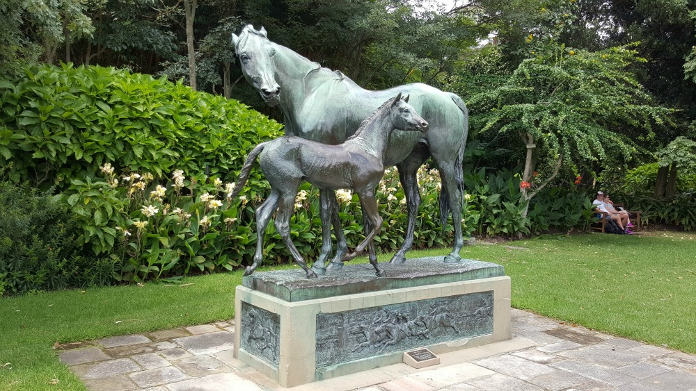 Mare and foal statue in the Botanic Gardens, Sydney
