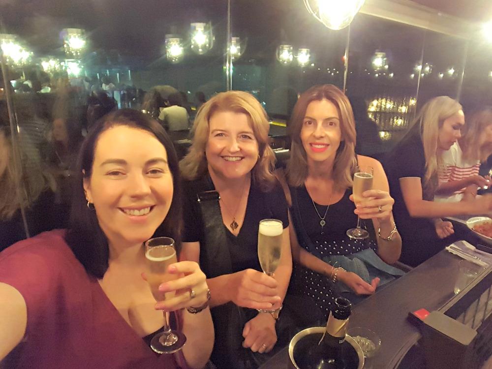 Rachael Johns, Cathryn Hein, Emily Madden at dinner