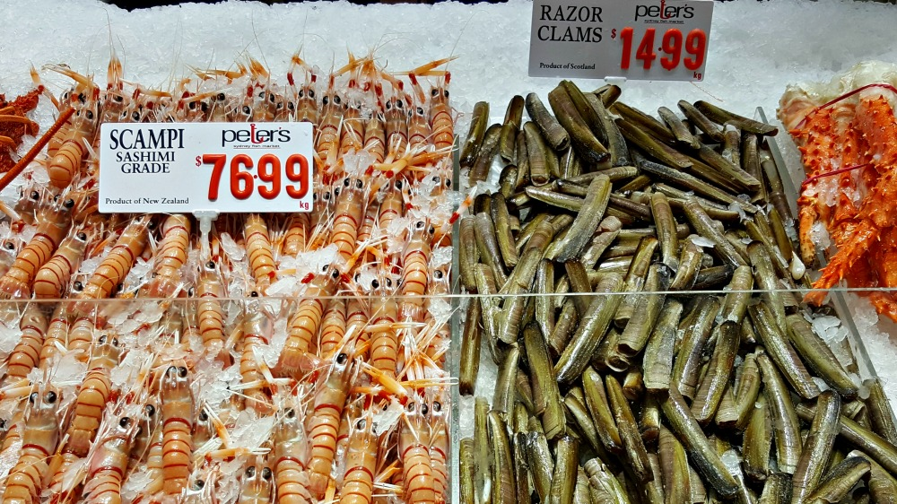 Razor clams from Scotland and scampi from New Zealand.