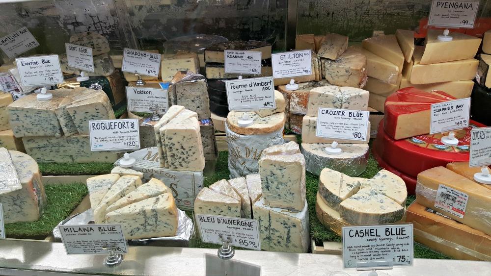 Blue cheeses in the deli
