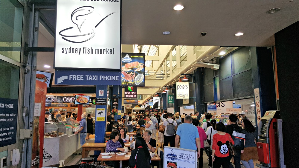 The entrance to the Sydney Fish Market. It was rocking!