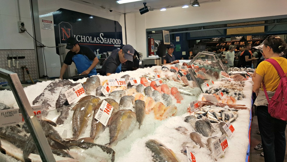 A fresh fish display.