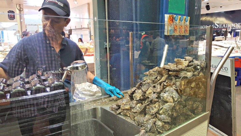 Oyster shucking.