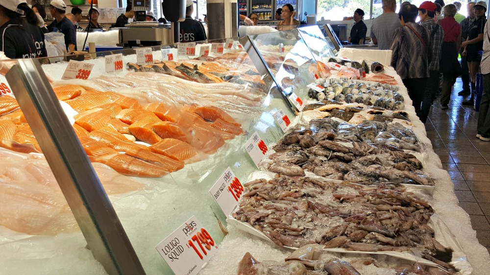 Squid and fresh fillet display