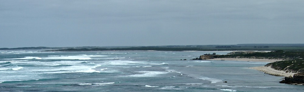 A view of the coastline looking west from Port MacDonnell, South Australia.