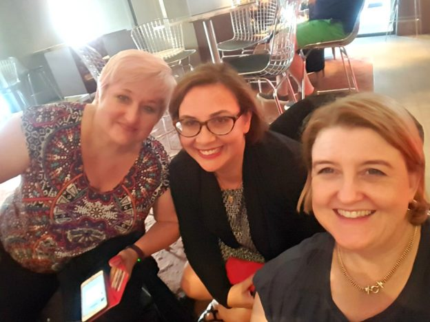 Amy Andrews, Christine Wells and me in the bar. Surprise, surprise!