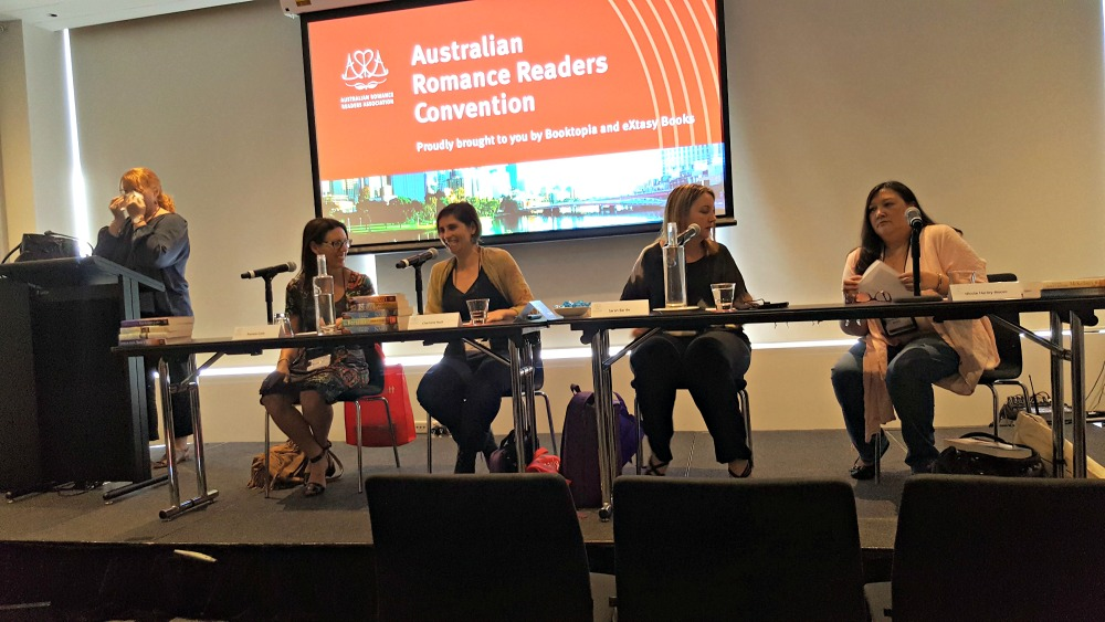 The Rise of Rural Romance panel featuring Pamela Cook, Charlotte Nash, Sarah Barrie and Nicole Hurley-Moore, with Victoria Purman moderating.