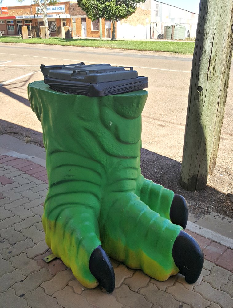 dinosaur foot wheelie bin covers.