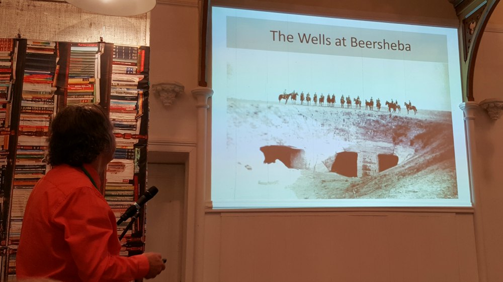 Tom Thompson telling us about the photos in 'To Beersheba 1917'