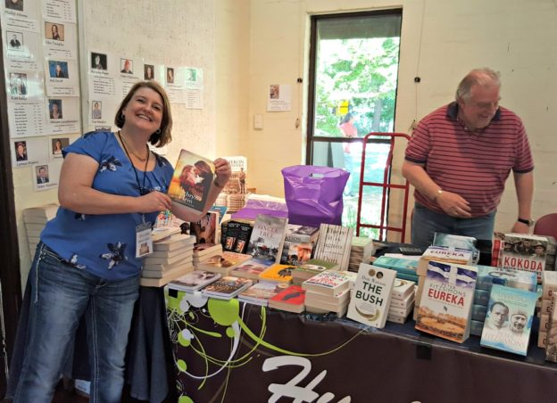 Horsing around on the Hunt A Book bookstall.