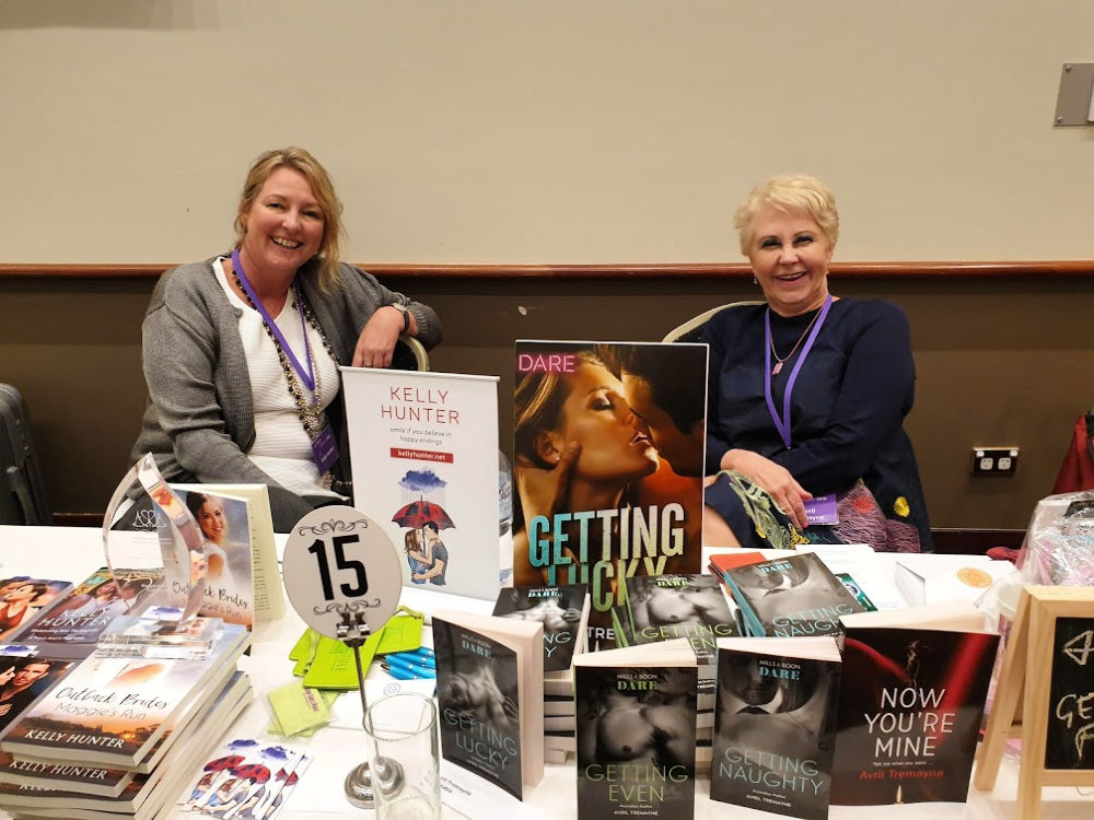 Fellow Outback Brides author Kelly Hunter with Avril Tremayne at ARR19, Sydney.