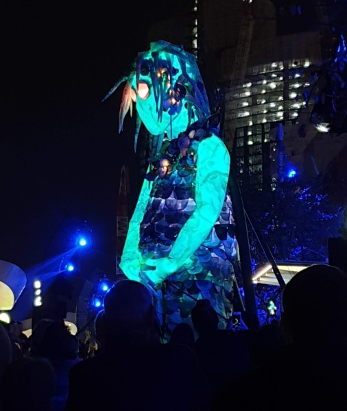 The 6 metre high Marri Dyin puppet at Barangaroo.