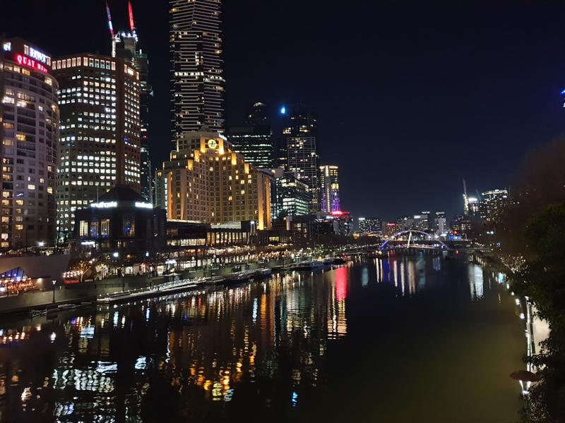 The Yarra River, Melbourne at night.