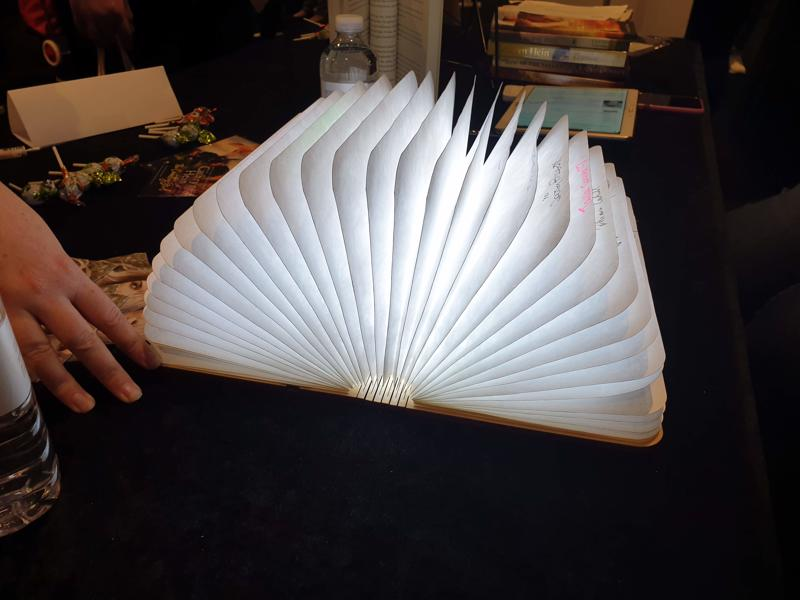 A reader's amazing book lamp at Fictionally Yours, Melbourne 2019