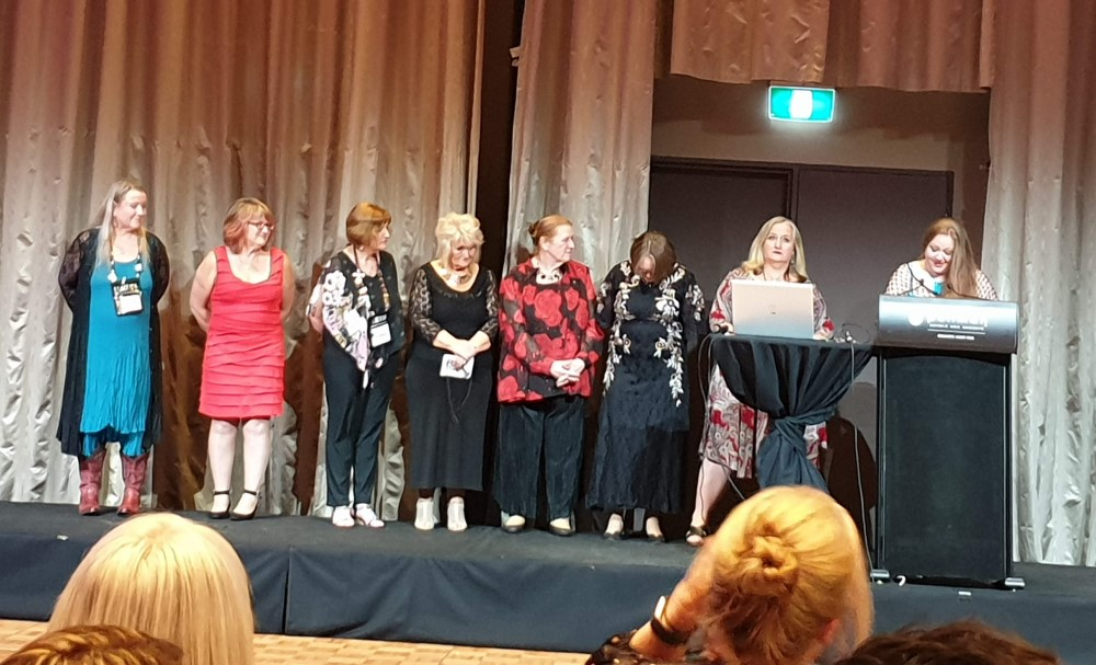 Amy Andrews receiving her life membership, 2019 Romance Writers of Australia conference