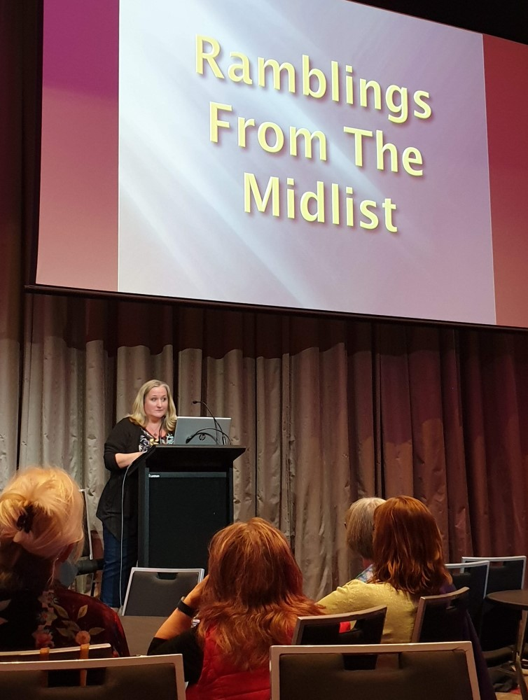 Amy Andrews delivering her hilarious closing keynote speech, 2019 Romance Writers of Australia conference